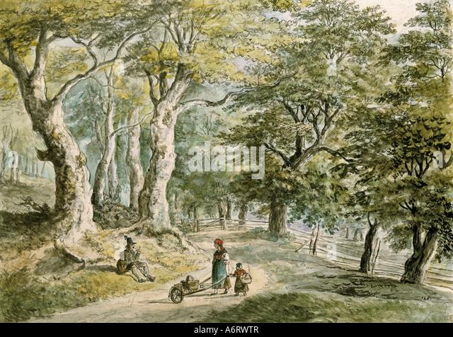 Bildende Kunst, Dorner, Johann Jakob, der jüngere (1775-1852), Forrest in der Nähe von Dietramszell, Aquarell, Stockbild