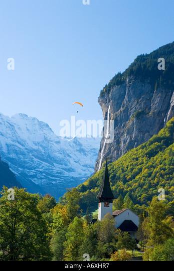 Schweiz Berner Oberland Blick über Lauterbrunnen Stockbild