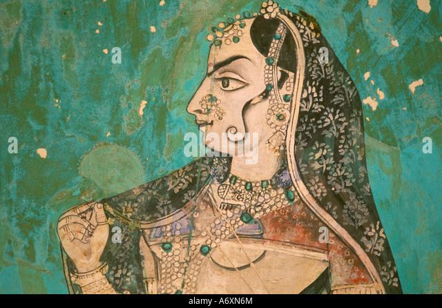 Malerei im Palast Bundi Rajasthan Staat Indien Asien Stockbild
