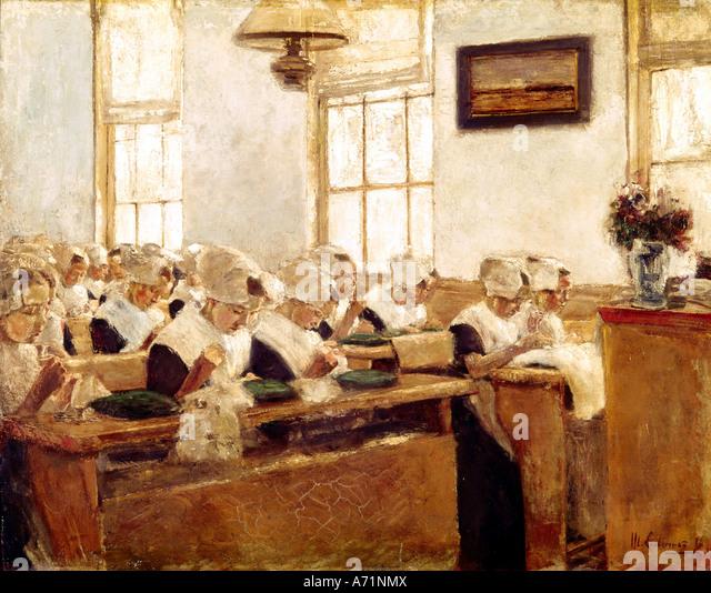 """Fine Arts, Liebermann, Max, (1847-1935), Malerei,""Holländische Nähschule"", (""Dutch Stockbild"