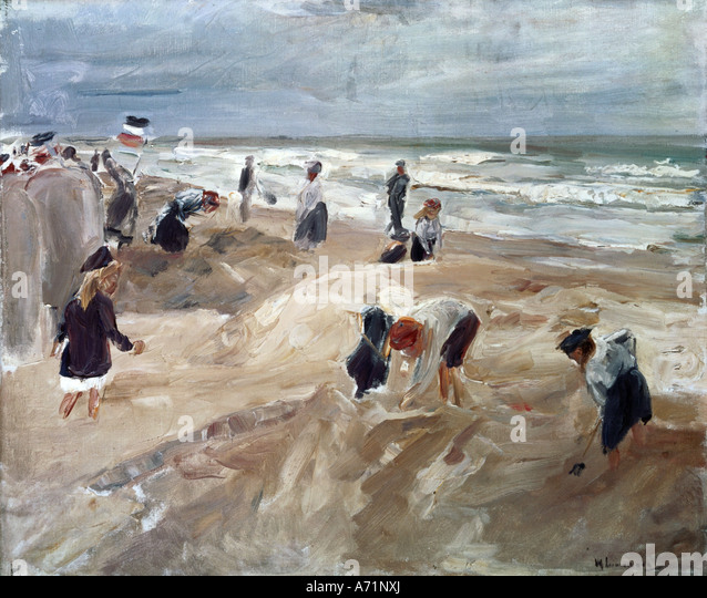 """""""Fine Arts, Liebermann, Max, (1847-1935), Malerei,""""Strandszene in Noordwijk"""", (""""Strand-Szene Stockbild"""