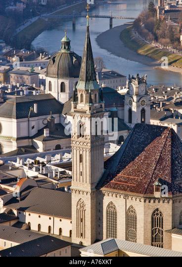Blick von der Salzburg Stadt, Salzburg, Österreich Stockbild