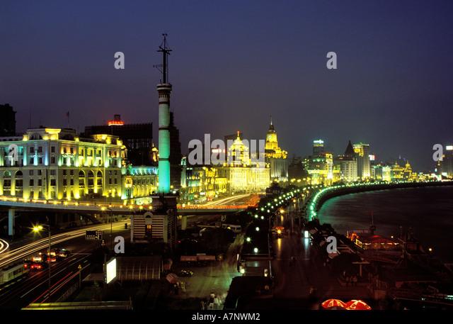 China, Shanghai Stadt, Bund, Symbol der 30er Jahre neoklassische Architektur Stockbild