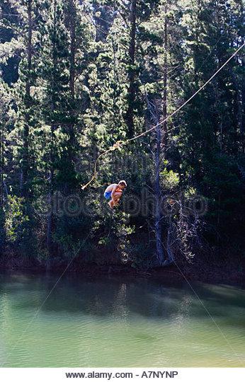 Jungen 8-10 in Badeshorts loslassen von Seil schwingen über See umarmt Knie-Seitenansicht - Stock-Bilder