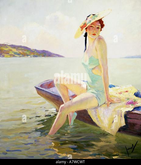 Bildende Kunst, Cucuel, Edward (1875-1934), Frau mit Sonnenschirm, Malerei, Deutschland, ca. 1930er Jahre, 30er Stockbild