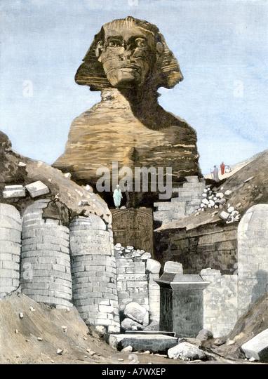 Ausgrabung der Sphinx bei Ghizeh 1880er Jahre Stockbild