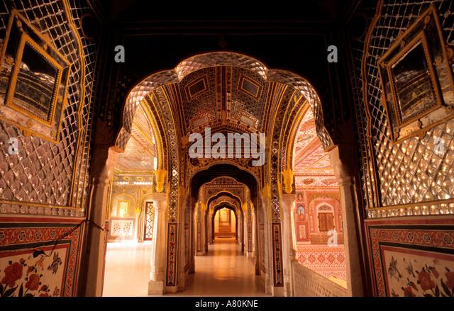Indien, Rajasthan, Samode Dorf, Samode Palace Hotel Stockbild