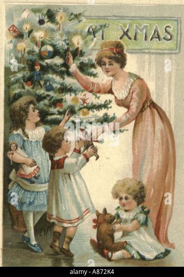 Weihnachtsgrußkarte um 1900 Stockbild