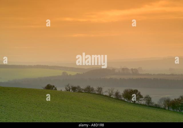 Blick über die Lambourne Downs von Uffington Burg, Compton Beauchamp, Oxfordshire Stockbild
