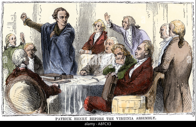 Patrick Henry er eine Rede der Virginia Versammlung Stockbild