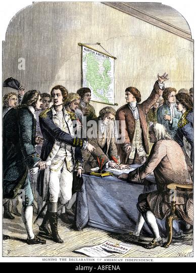 Delegierte, die Unterzeichnung der amerikanischen Unabhängigkeitserklärung 4. Juli 1776 Stockbild