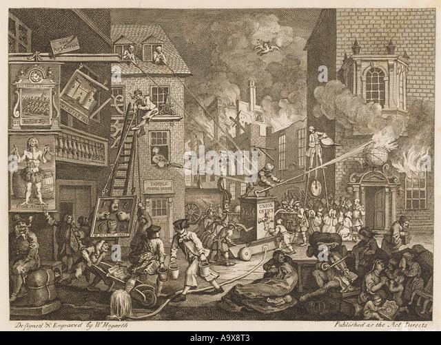 Kunst Hogarth die Zeiten Stockbild