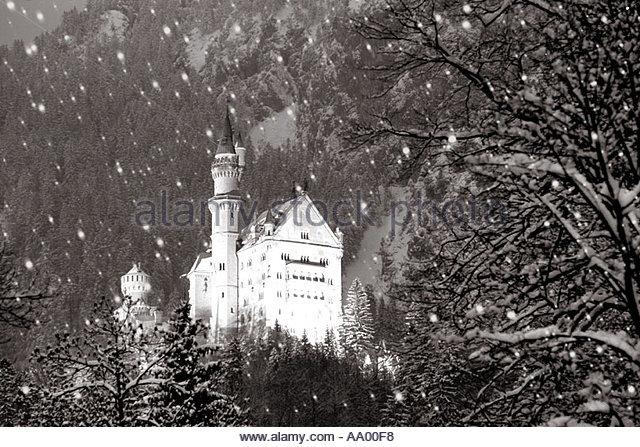 Weihnachten Xmas Ferienzeit Neuschwanstein Castle Schwangau Deutschland Stockbild