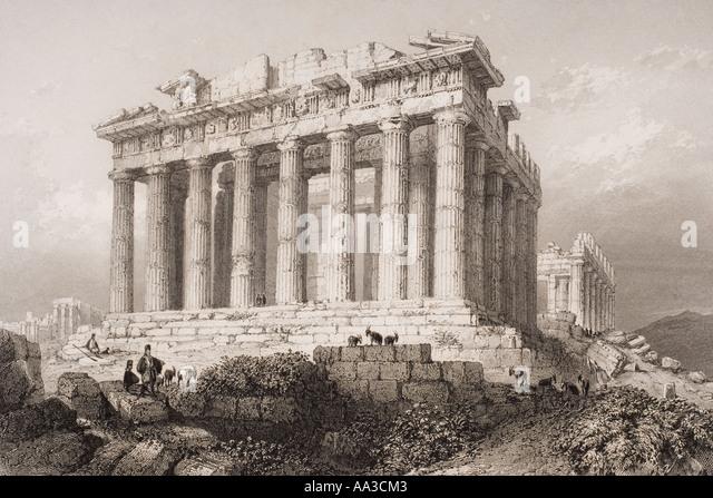 Der Parthenon in Athen im 19. Jahrhundert Stockbild