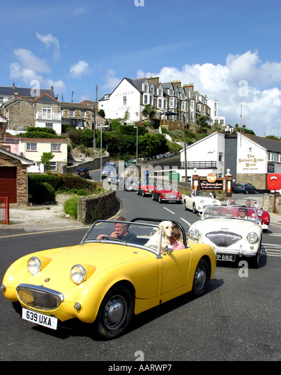 Austin Healey Rally Perranporth Cornwall UK Stockbild