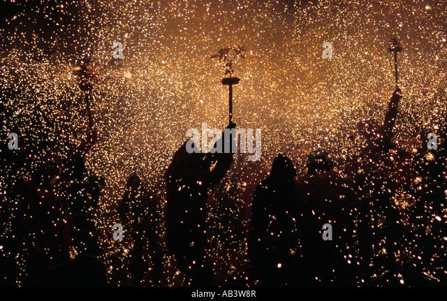 Correfoc - Barcelona, Katalonien, Spanien Stockbild