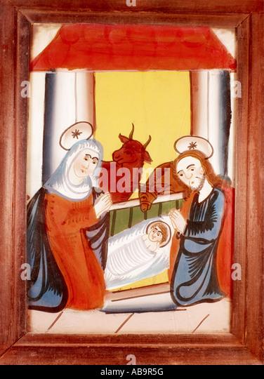 Bildende Kunst, sakrale Kunst, Jesus Christus, Krippe, Glasmalerei, Sandl, Oberösterreich, Mitte des 18. Jahrhunderts, Stockbild
