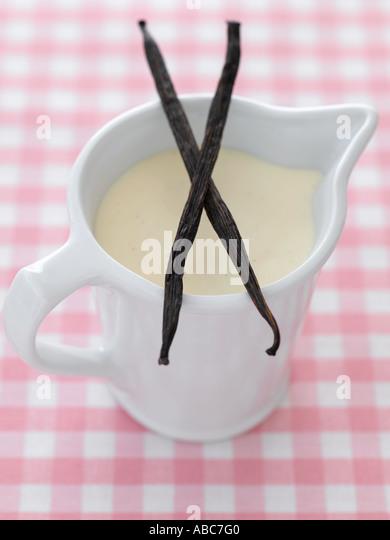 Pudding und Vanille Schoten auf rosa karierte Tischdecke - high-End Hasselblad 61mb digitales Bild Stockbild