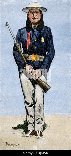 Arapaho-Scout für die Kavallerie 1800er Stockbild