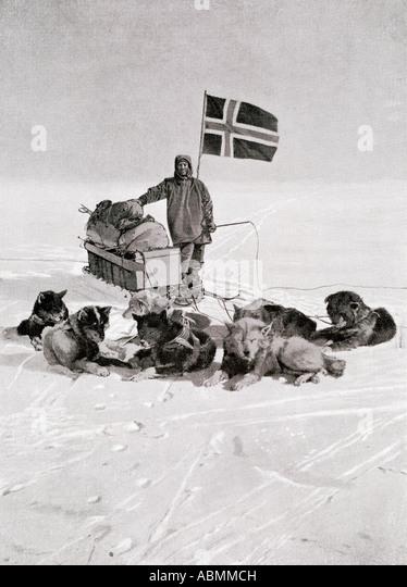 Kapitän Roald Amundsen gravning engelbregt 1872 bis 1928 am Südpol unter die norwegische Flagge Stockbild