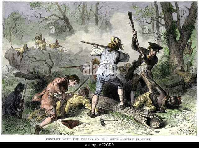 Kolonisten in Konflikt mit einheimischen Indianern an der Georgia und Carolina Grenze 1700er Jahren Stockbild