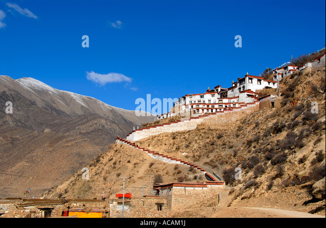 Alte Festung Dzong Kyi Chu Tal Tibet China Stockbild