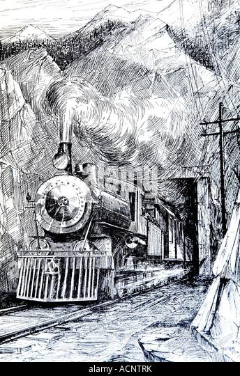 1920er Jahre Linie Illustration der Dampfzug aus tunnel Stockbild