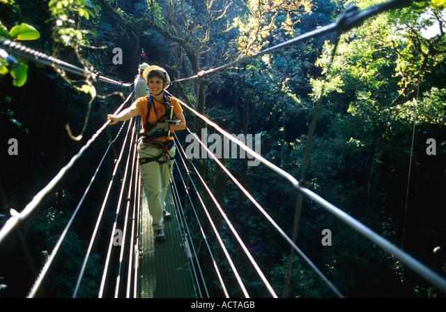 Frau auf Kabelbrücke durch Regenwald, Monteverde, Costa Rica Stockbild