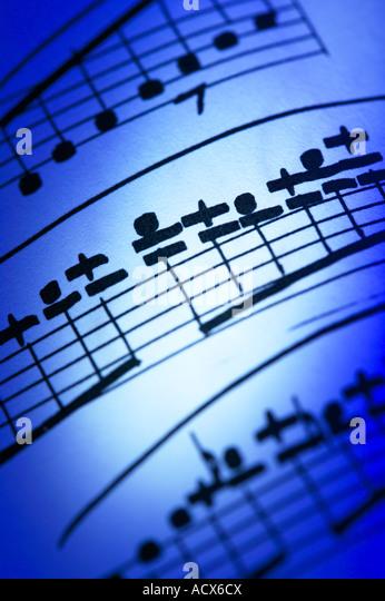 Nahaufnahme von handgeschriebenen Noten Partitur Notation Stockbild