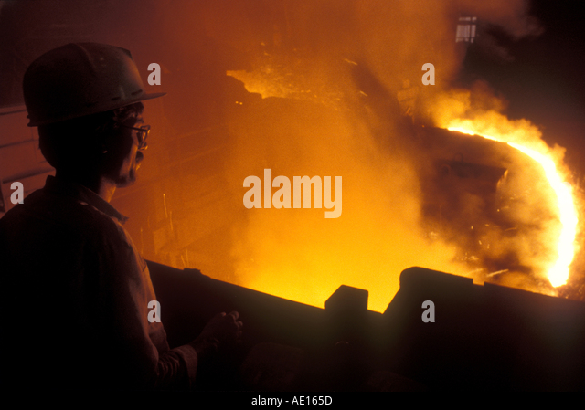 Stahl Ofen im Segel Steel Authority of India Ltd-Werk Bokaro Jharkhand Indien Stockbild