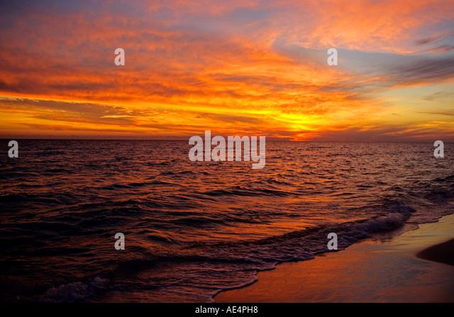 Sonnenuntergang in Aquarell, Florida an der Golfküste von Nordwesten, Florida. Stockbild