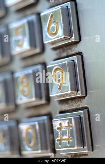 Vertikale Nahaufnahme von nummerierten Tastatur-Entry-system Stockbild