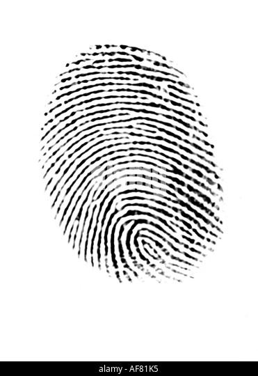 Ein Fingerabdruck-Beweis & biometrische Daten-Konzept Stockbild