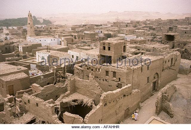Ägypten Dorf von El Kasr, in der Nähe von Dakhla Stockbild