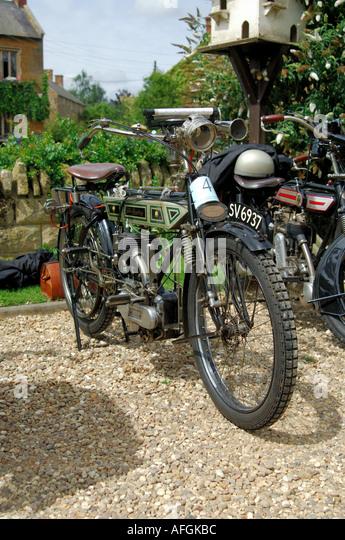 Die Bradbury Oldtimer Motorrad Stockbild