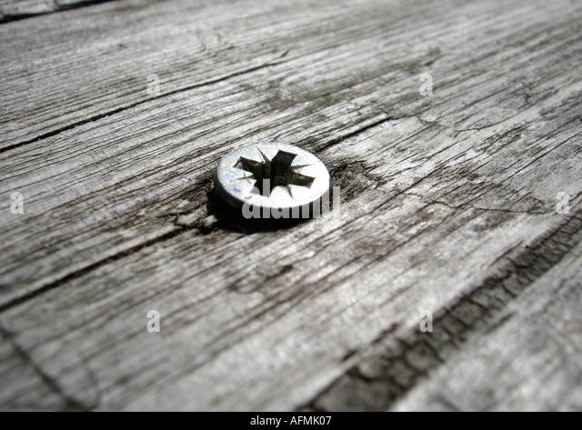 Schrauben in Holz Holzschraube Stockbild