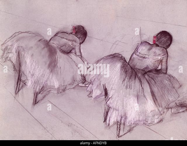 """""""Bildende Kunst, Degas, Edgar, (1834-1917), Malerei,""""Zwei ruhenden Tänzer"""", Pastell auf Papier, Stockbild"""