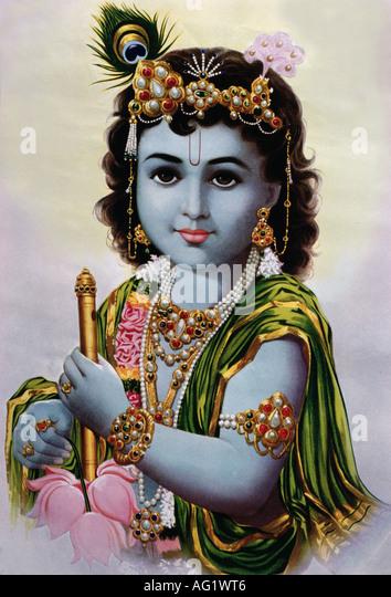 Krishna, indische Gott, achte Inkarnation von Vishnu, Porträt, Malerei, 20. Jahrhundert, Indien, Kunst, Religion, Stockbild