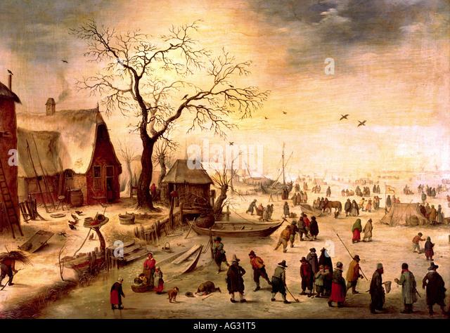 """""""Fine Arts, Snayers, Pieter, (1592 - nach 1666), Malerei,""""Winterlandschaft"""", aus dem 17. Jahrhundert, Stockbild"""