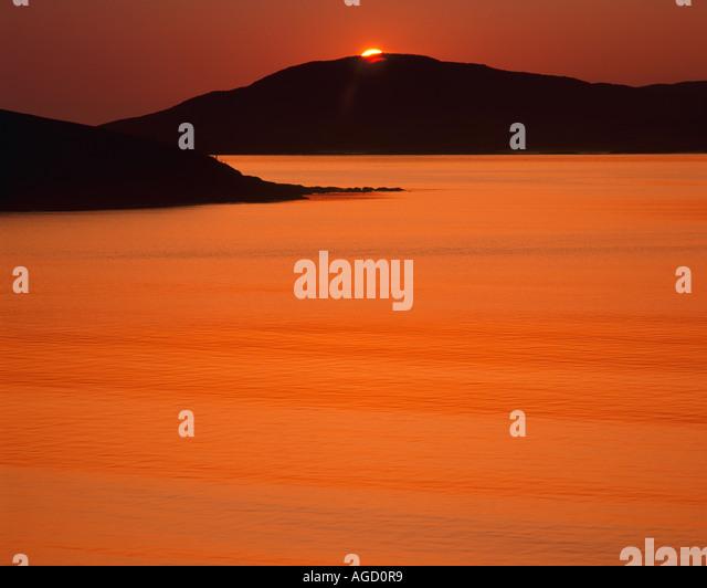 GB - Schottland: Sonnenuntergang über Sound z. in den äußeren Hebriden Stockbild