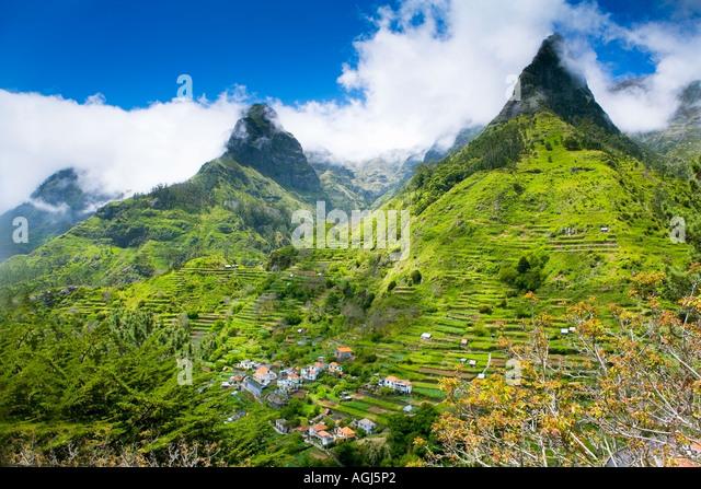 Madeira-Berglandschaft in der Nähe von Encumeade - Stock-Bilder