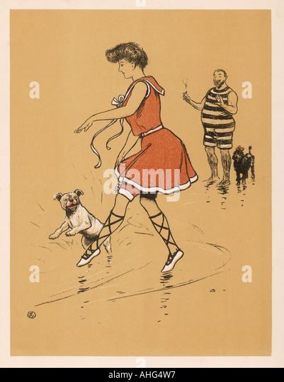 Frau Hund am Strand Stockbild