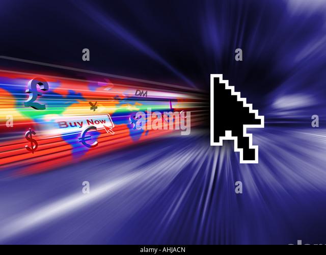 Cursor auf der Internet-Darstellung Stockbild