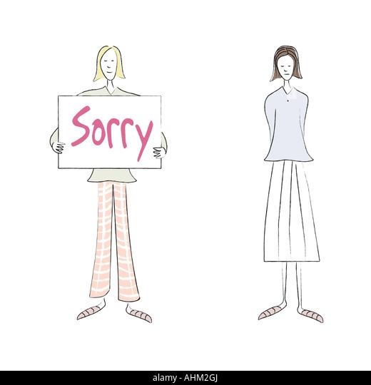 Mädchen sagen, Sorry Stockbild