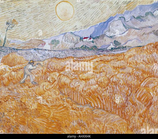 """""""Fine Arts, Gogh, Vincent van, (1853-1890), Malerei,""""die Ernte"""", 1889, Folkwang Museum Essen, historisch, Stockbild"""
