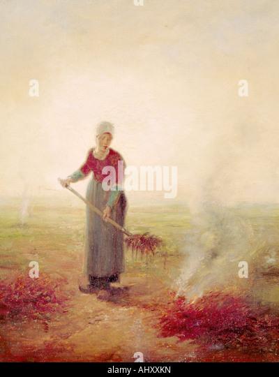 Bildende Kunst, Hirse, Jean-Francois (1814-1875), Malerei, junge Bauernmädchen, Musée d' Kunst et Stockbild