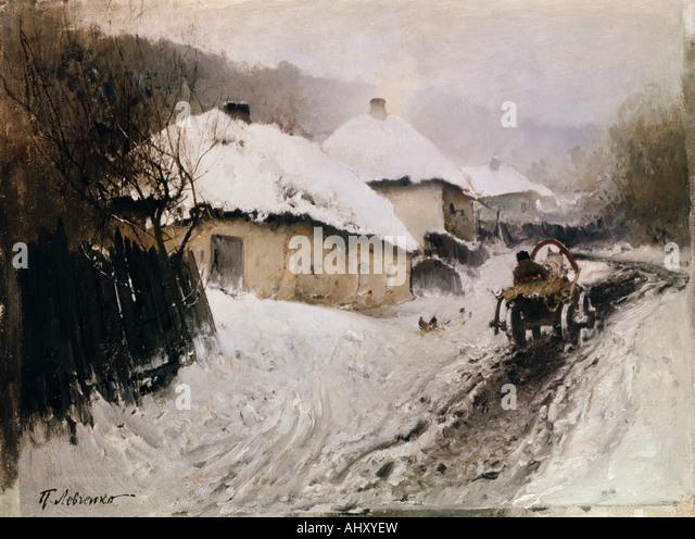 """Fine Arts, Lewtschenko, Petro, (1856-1917), Malerei, 'Ein Dorf im Winter', 1905, Öl auf Leinwand, Stockbild"