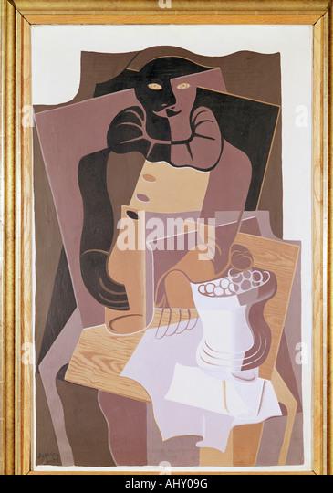 """Fine Arts, Gris, Juan (1887-1927), Malerei,""Pierrot"", 1922, Öl auf Leinwand, 100 x 64 cm, von Stockbild"