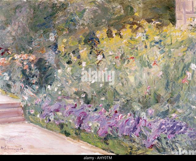 """""""Fine Arts, Liebermann, Max, (1847-1935), Malerei,""""Gartenstück"""", (""""Garten-Stück""""), Stockbild"""