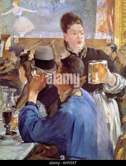 """Bildende Kunst, Manet, Edouard (1832-1883), Malerei,""La Servante de Bocks"", (""Ecke ein Café Stockbild"